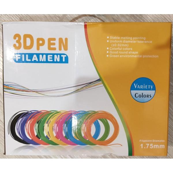 20 цветов по 10м (200м.)  PLA или ABS в подарочной коробке