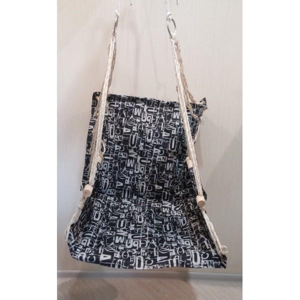 Гамак кресло качель подвесная с подлокотниками черное основание сталь