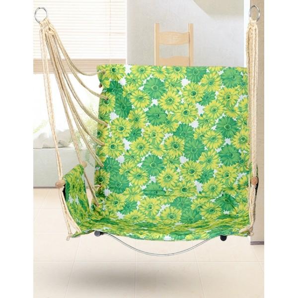 Гамак кресло качель подвесная с подлокотниками зеленое основание сталь