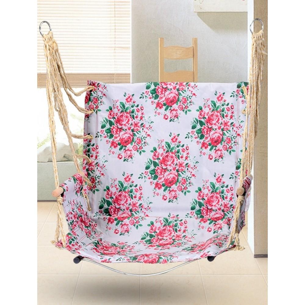 Гамак кресло качель подвесной 100x50см розовое со стальным основанием