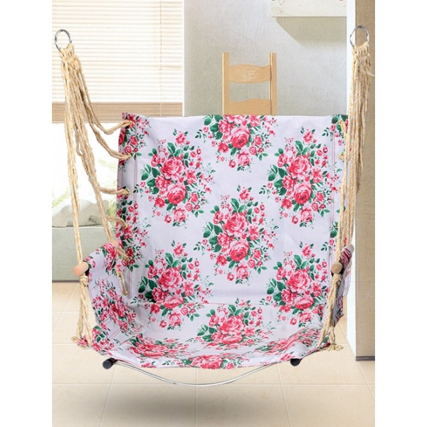 Гамак кресло качель подвесная с подлокотниками розовое основание сталь