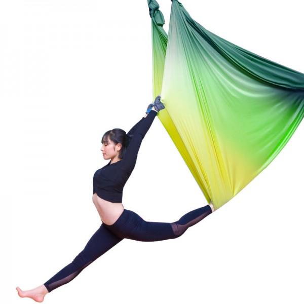 Гамак для йоги 5 метров желто-зеленый