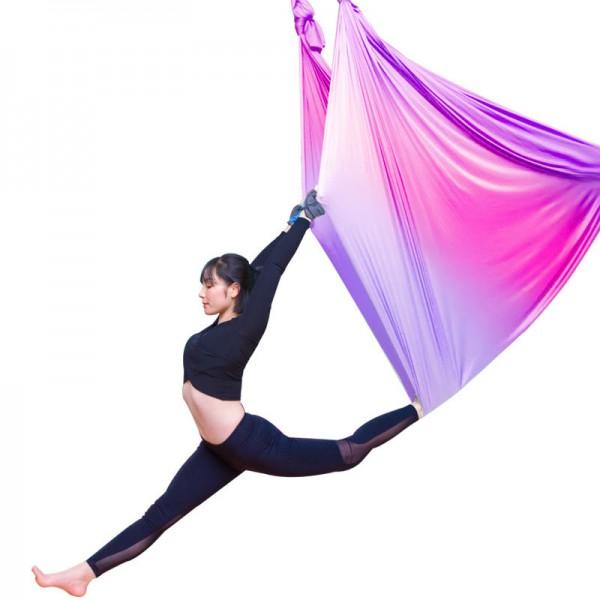 Гамак для йоги 5 метров розово-фиолетовый